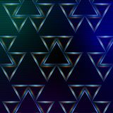 Abstract blue background with shining multicolored triangles Royalty Free Stock Photos