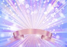 ABSTRACT BLUE BACKGROUND WITH SHINING RAYS AND A PINK RIBBON. Background  space  illustration  abstract  design  shine  shiny  art  glitter  light  backdrop Stock Photography