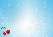 Abstract blue background with snowflake and Red cherry. For your design christmas celebration Royalty Free Stock Image