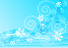 Abstract blue background with snowflakes. And curls Stock Photo