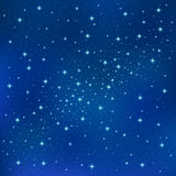 Abstract Blue background with sparkling twinkling stars. Cosmic shiny galaxy sky Royalty Free Stock Images