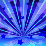 Abstract blue background with stars and radiating stock illustration