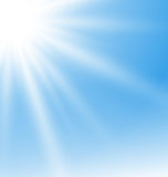 Abstract Blue Background with Sun Rays Royalty Free Stock Images