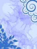 Abstract blue background with floral decoration. Abstract background in blue tones with stylized cloud and leaves Stock Photos