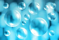 Abstract blue background with transparent 3d bubbles. Abstract blue blurred background with transparent 3d bubbles Royalty Free Stock Photo