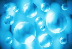 Abstract blue background with transparent 3d bubbles. Abstract bright blue background with transparent 3d bubbles Royalty Free Stock Photography