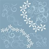 Abstract blue background with white flowers and light blue swirls. Web design, wrapping paper, packaging vector illustration