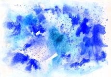 Abstract blue background winter watercolor painting royalty free stock photos