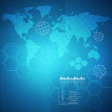 Abstract blue background with world map Royalty Free Stock Image