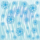 Abstract blue backround with flowers Royalty Free Stock Images