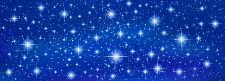 Abstract Blue banner background with sparkling twinkling stars Stock Photos