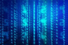 Blue binary code background. Abstract blue binary code background. Computing, cyberspace , future and innovation concept. 3D Rendeing Stock Photo