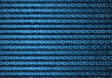 Abstract blue binary computer code technology data background Stock Images