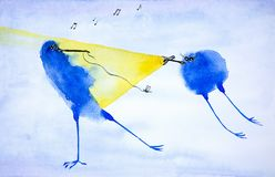 Abstract blue bird catches a moth in the light of a flashlight that shines another bird. Watercolor illustration.  stock illustration
