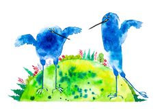 Abstract blue birds on a green planet earth background with forests and fields. Watercolor illustration isolated on white vector illustration
