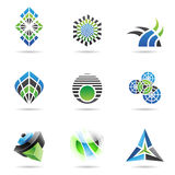 Abstract blue black and green Icon Set 17 Stock Photo