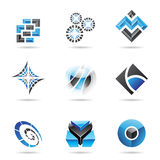 Abstract blue and black icon set 13 Stock Photo
