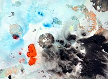 Abstract blue black spots, painting watercolor background, painting abstract colors stock images