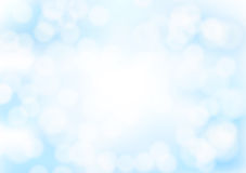 Abstract blue bokeh background with blurred light effects. Glowing light in blue sky abstract horizontal backdrop for Your design. vector illustration Stock Photos