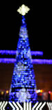 The abstract blue bokeh christmas tree Stock Photos