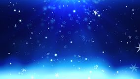 Abstract blue bokeh and snowflake falling. Happy New Year and Merry Christmas shiny background. Luxury and elegant dynamic style template for winter holiday stock video footage