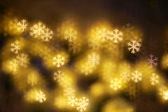 Abstract blue Bokeh snowflake Stock Images