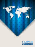 Abstract blue brochure with stripes stars and world map Royalty Free Stock Photo