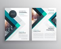 Abstract blue business brochure flyer design template with trian. Gle shapes Royalty Free Stock Photo
