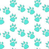 Abstract blue cat footprint in turquoise outline on white background. royalty free illustration