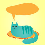 Abstract blue cat lying on a rug and a cloud of thoughts. Doodle Royalty Free Stock Photography