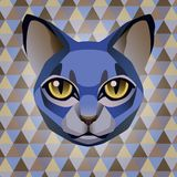 Abstract blue cat on a rhombus background Royalty Free Stock Images