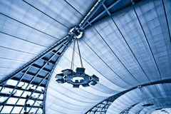 Abstract blue ceiling with lamps Stock Images