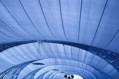 Abstract blue ceiling with lamps Royalty Free Stock Photography
