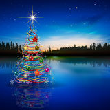 Abstract blue celebration greeting with Christmas tree Royalty Free Stock Image