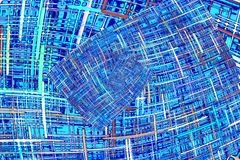 Abstract blue checkered fractals pattern. Comic background. Digitally generated image royalty free illustration