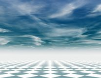Abstract blue chess background with chess board and cloudy sky. Royalty Free Stock Photo