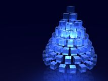 Abstract blue christmas. 3d blue glass pyramid-shape tree Stock Photography