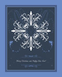 Abstract blue Christmas background with snowflakes. Greeting card Royalty Free Stock Photos