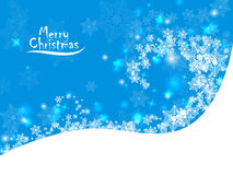 Abstract blue christmas background with snowflakes. White blue card merry Christmas with whirlwinds of snowflakes on the hill Royalty Free Stock Images