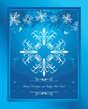 Abstract blue Christmas background with tinsel and snowflakes. Greeting card Stock Images