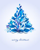Abstract blue christmas tree. From drops and leaves stock illustration
