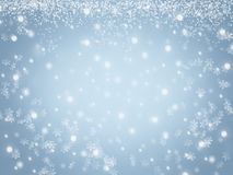 Christmas winter sky background with crystal snowflakes and stars. Abstract blue Christmas winter snow sky background with crystal snowflakes and stars Royalty Free Illustration