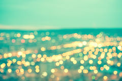 Abstract blue circular bokeh background, city lights with horizo Royalty Free Stock Images
