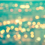 Abstract blue circular bokeh background, city lights with horizo Royalty Free Stock Photo
