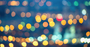 Abstract blue circular bokeh background, city lights, instagram Stock Photos