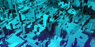 Abstract blue city background. Abstract digital blue city background with buildings and skyscrapers. Urban concept. 3D Rendering Stock Photos
