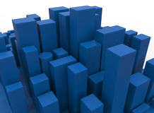 Abstract blue city. 3D rendered illustration of an abstract blue city. The composition is isolated on a white background with no shadows Stock Photography