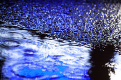 Abstract blue city rainy background Royalty Free Stock Image