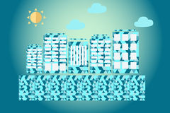 Abstract blue city. Rhombic abstract blue city on a blue background Royalty Free Stock Photography