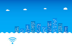 Abstract blue cityscape. Wi-fi, 3G, 4G advertising desing. Abstract blue cityscapewith clouds on skyline. Wi-fi, 3G, 4G advertising desing Royalty Free Stock Images